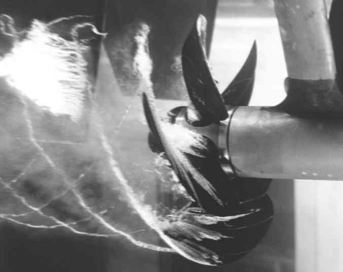 Cavitating propeller in a water tunnel experiment at the David Taylor Model Basin