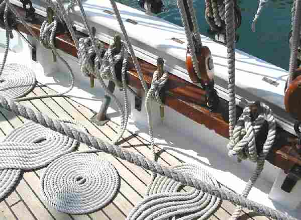 Cordage aboard the French training ship Mutin, coiled ropes