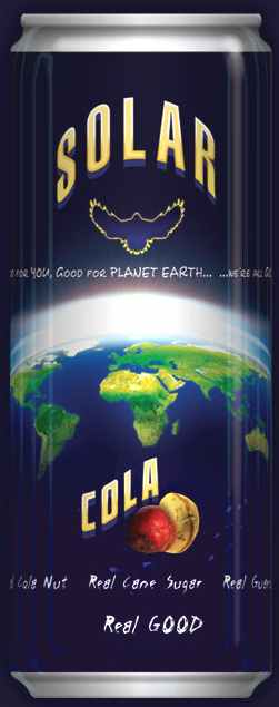 Blue planet earth Solar Cola peace to the world drink