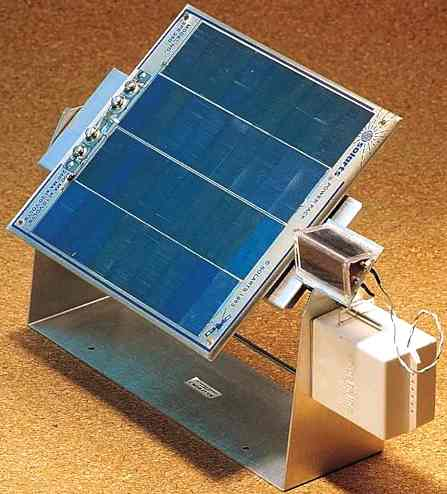 This solar panel tracks the sun, so captures more energy