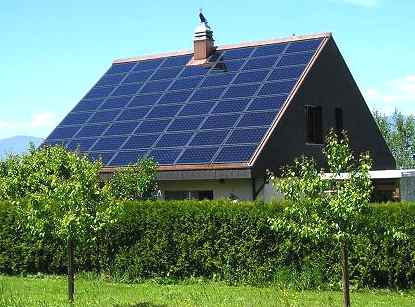 Solar panel array as the roof on a house