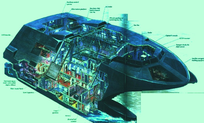 The Stealth Ship 'Sea Shadow' technical drawing, cyber wars