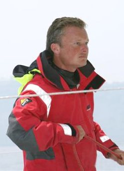 Steve White in foul weather gear White Ocean Racing team