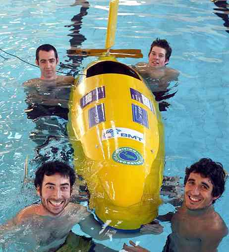 "Submarine Bath University 10ft long sub carries one ""pilot"" who pedals the vessel"