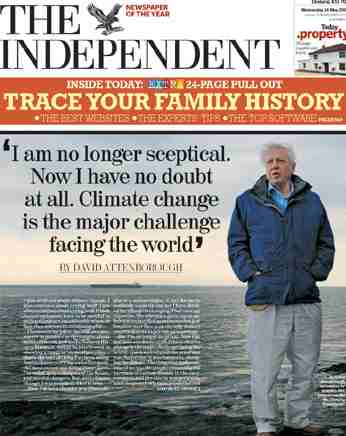 The independent david attenborough on climate change and global