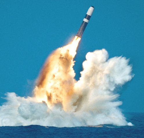 A Trident missile launch.  One U.S. Trident submarine holds enough nuclear missiles to destroy an entire continent.  (solarnavigator.net)