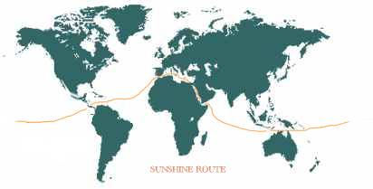 World Solar Navigation Challenge route map Solar Navigator's - Sunshine Route