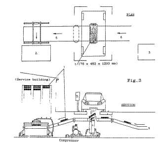 Electric vehicle battery cartridge refueling station, patent GB2253379