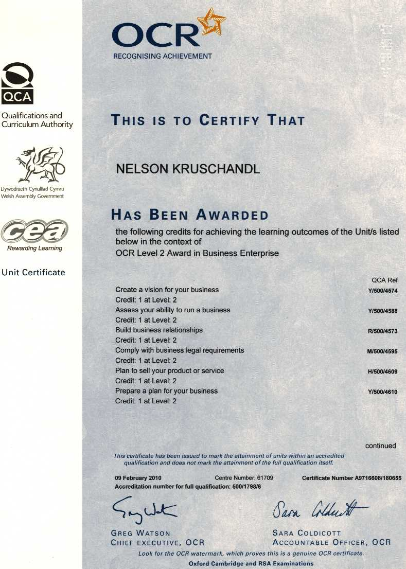 Level 3 award for business plans and ability to run a business - http://www.ocr.org.uk/