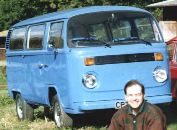 Genius inventor, Nelson Kruschandl with his VW camper wagon