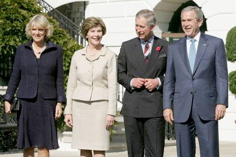 Camilla, Laura and George Bush and Prince Charles