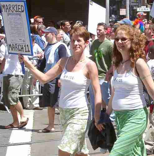 Lesbian married couple demonstration march