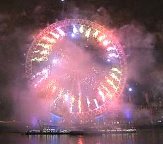 London Eye midnight fireworks display New Year's Eve