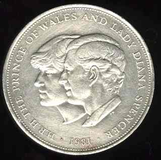 Charles and Diana's wedding commemorated on a 1981 British twenty-five pence coin