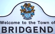 Bridgend, Wales, town welcome sign