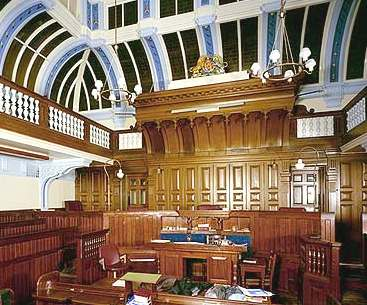 Lewes Crown Court interior woodwork detail