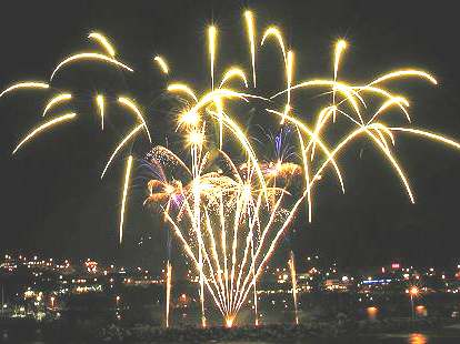 New Year celebrations with fireworks display