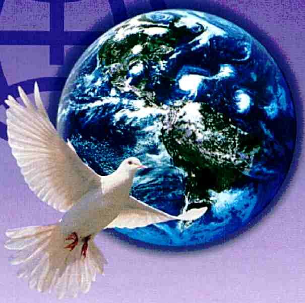 World Peace - dove flying across Planet Earth