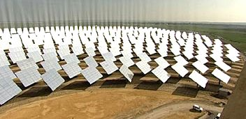 Thermosolar power sation, some of the 624 mirrors at the solar energy center in Sanlucar La Mayor, near Seville
