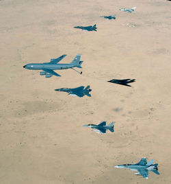 Bomber and strike aircraft over Iraq war on terrorism