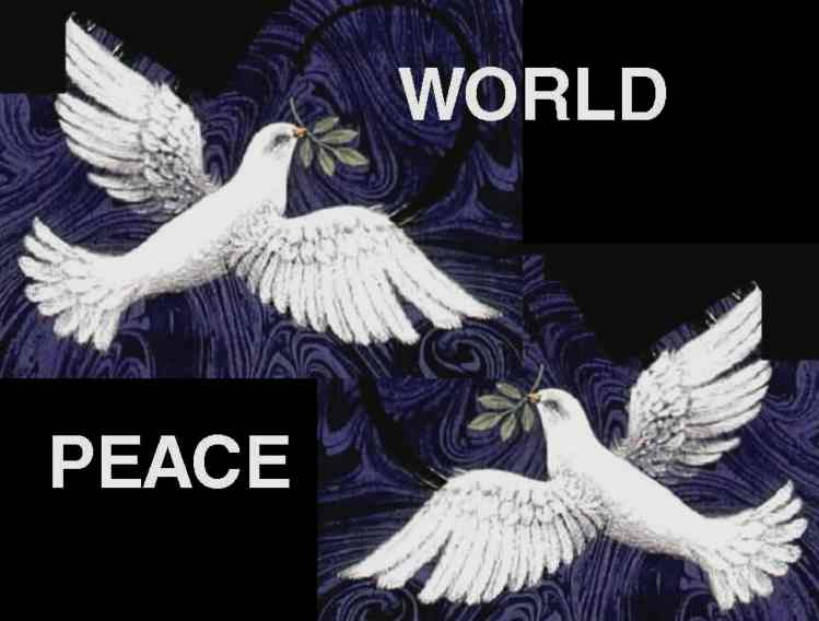 Peace for the World doves and olive branches