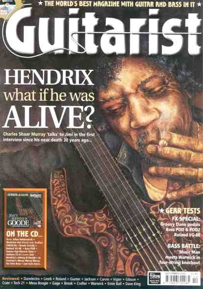 Jimi hendrix rock and pop singer idol star september 2000 issue of guitarist magazine depicts what hendrix might look like if he were alive malvernweather Image collections