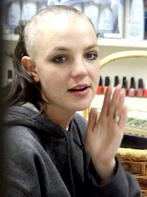 Britney Spears sporting a shaved head bald look