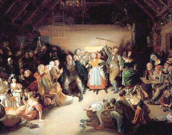 Halloween snap apple night by Daniel Maclise 1832 painting