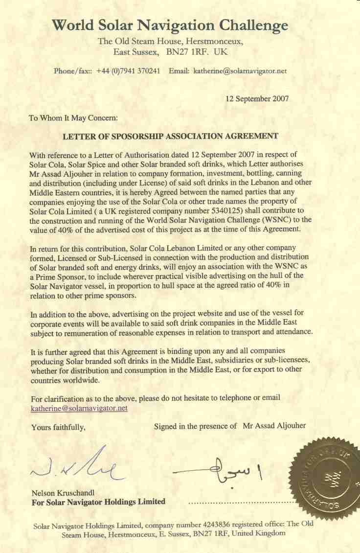Sponsorship Agreement Letter Agreement for IndividualSponsorship – Sponsorship Agreement Letter