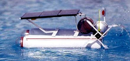 Solar powered model aerosol paddle boat from Mexico