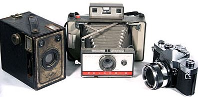 Cameras: An Agfa Brownie, Polaroid Land Camera, and Yashica 35 mm SLR