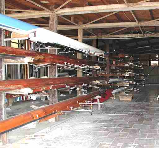 Rowing boats in a Boat House in Israel