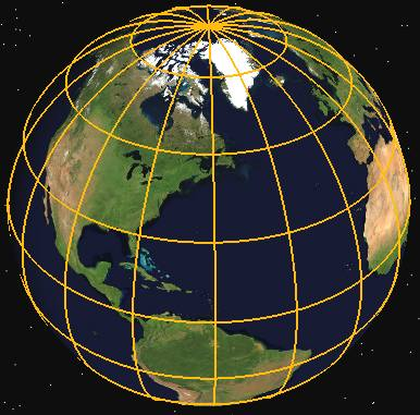 World 3Dcompass, lines of latitude and longitude