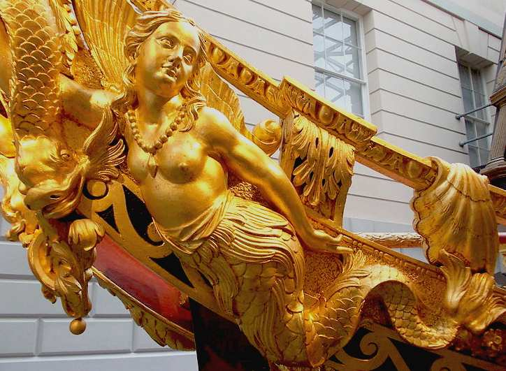 Mermaid figurehead in gold leaf, Prince Fredericks Barge 1732