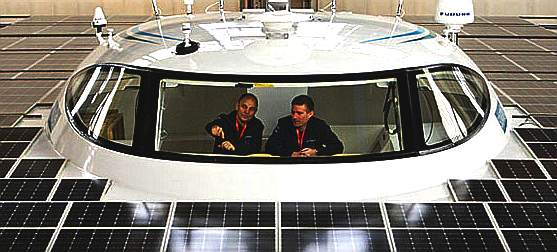 Cabin of the world's largest solar powered catamaran