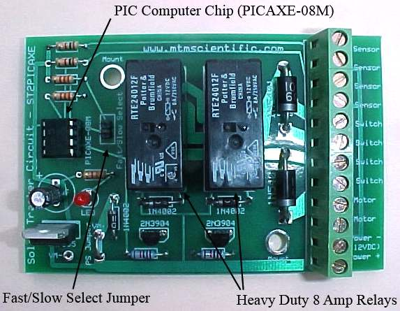 PIC computer chip based sun tracker kit